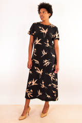 black and beige printed vintage maxi dress