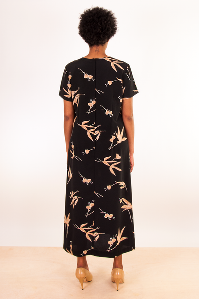 black and gold printed vintage maxi dress