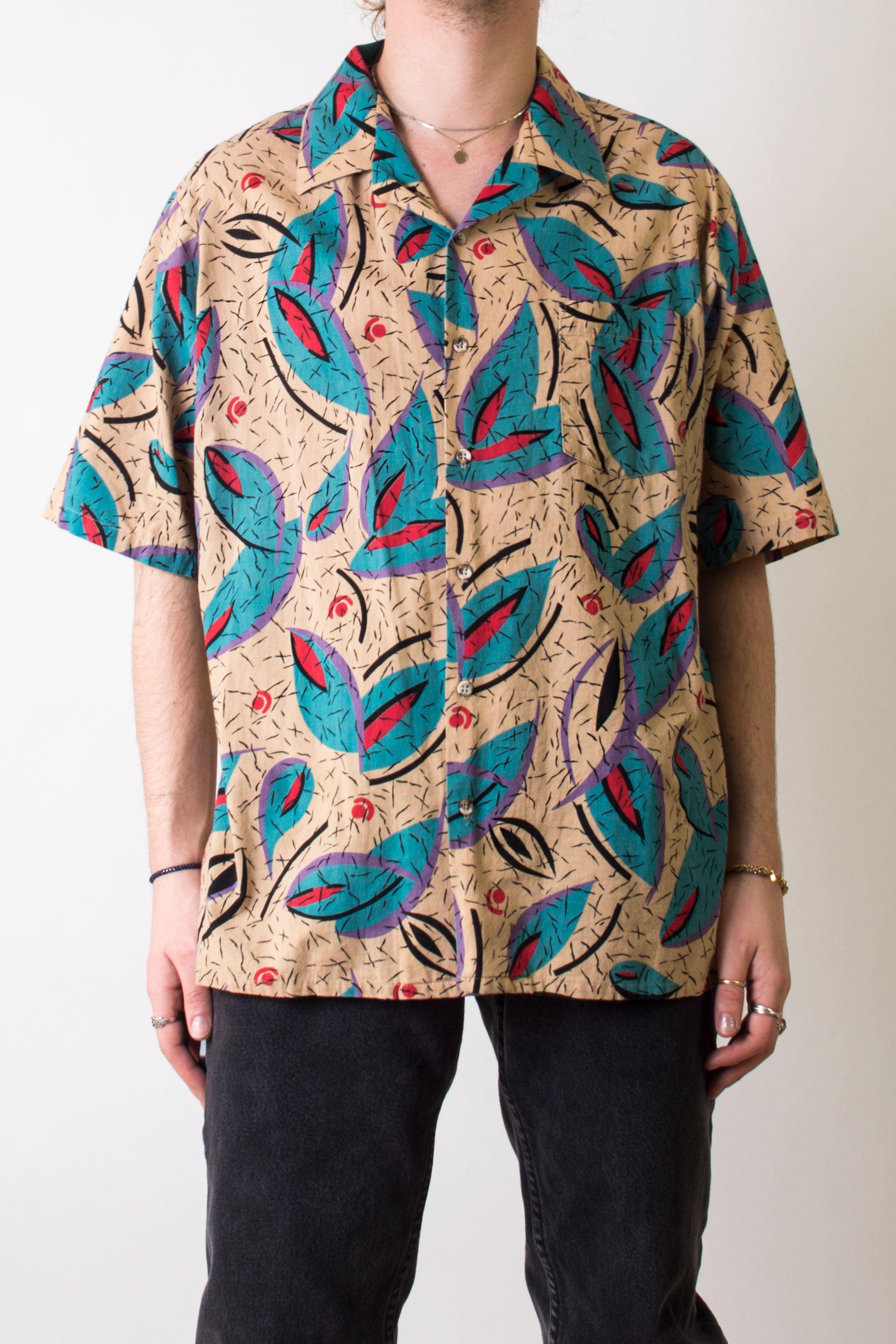 vintage print shirt in beige and multicolor