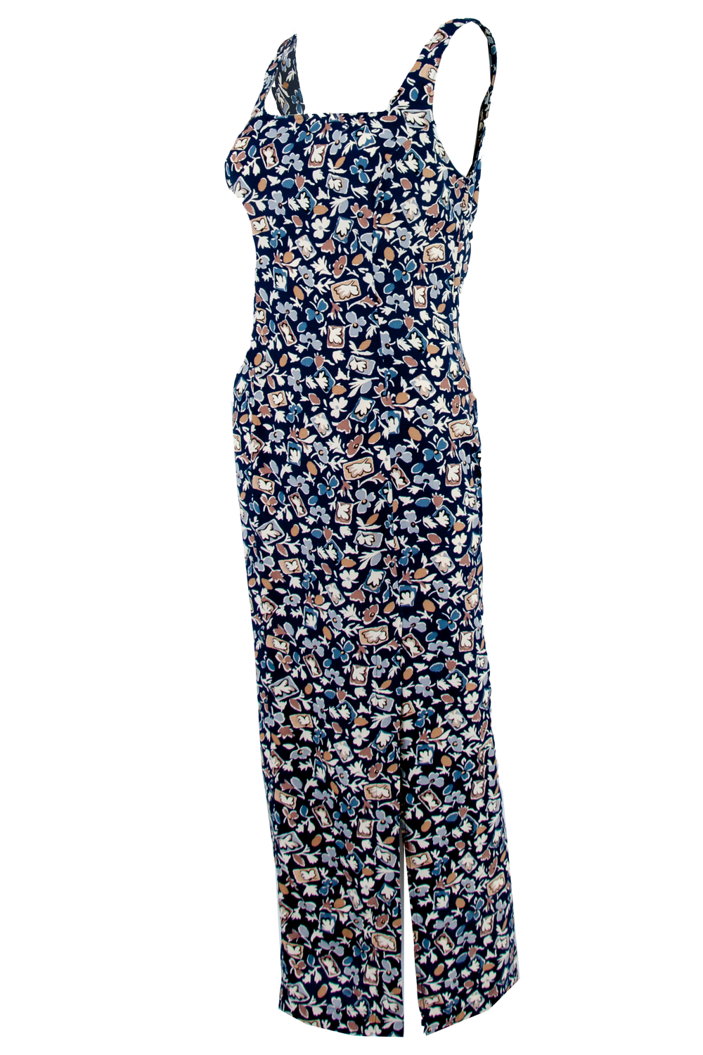 vintage sleeveless navy maxi dress with floral print and slit at side.