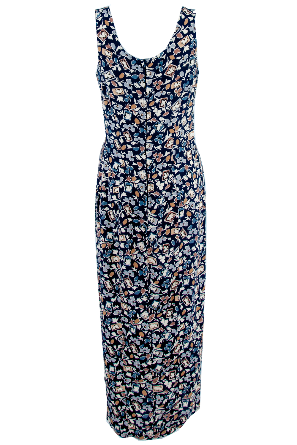 vintage sleeveless navy maxi dress with floral print