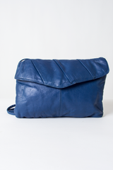 vintage blue leather crossbody purse