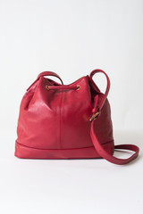 red leather vintage bucket bag