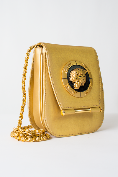 vintage gold crossbody bag with animal decal