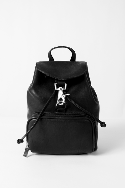 vintage mini black leather backpack