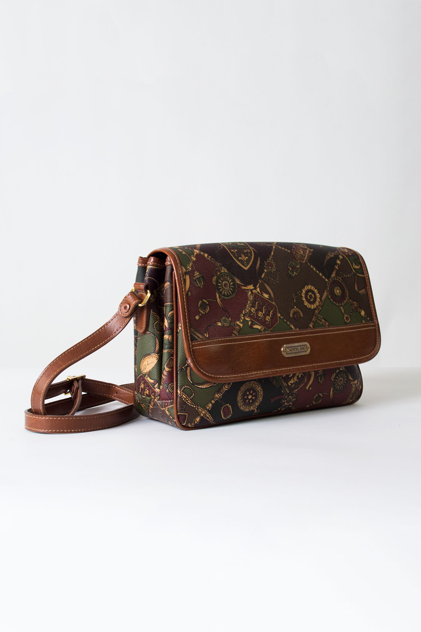 vintage multi-color print leather crossbody bag