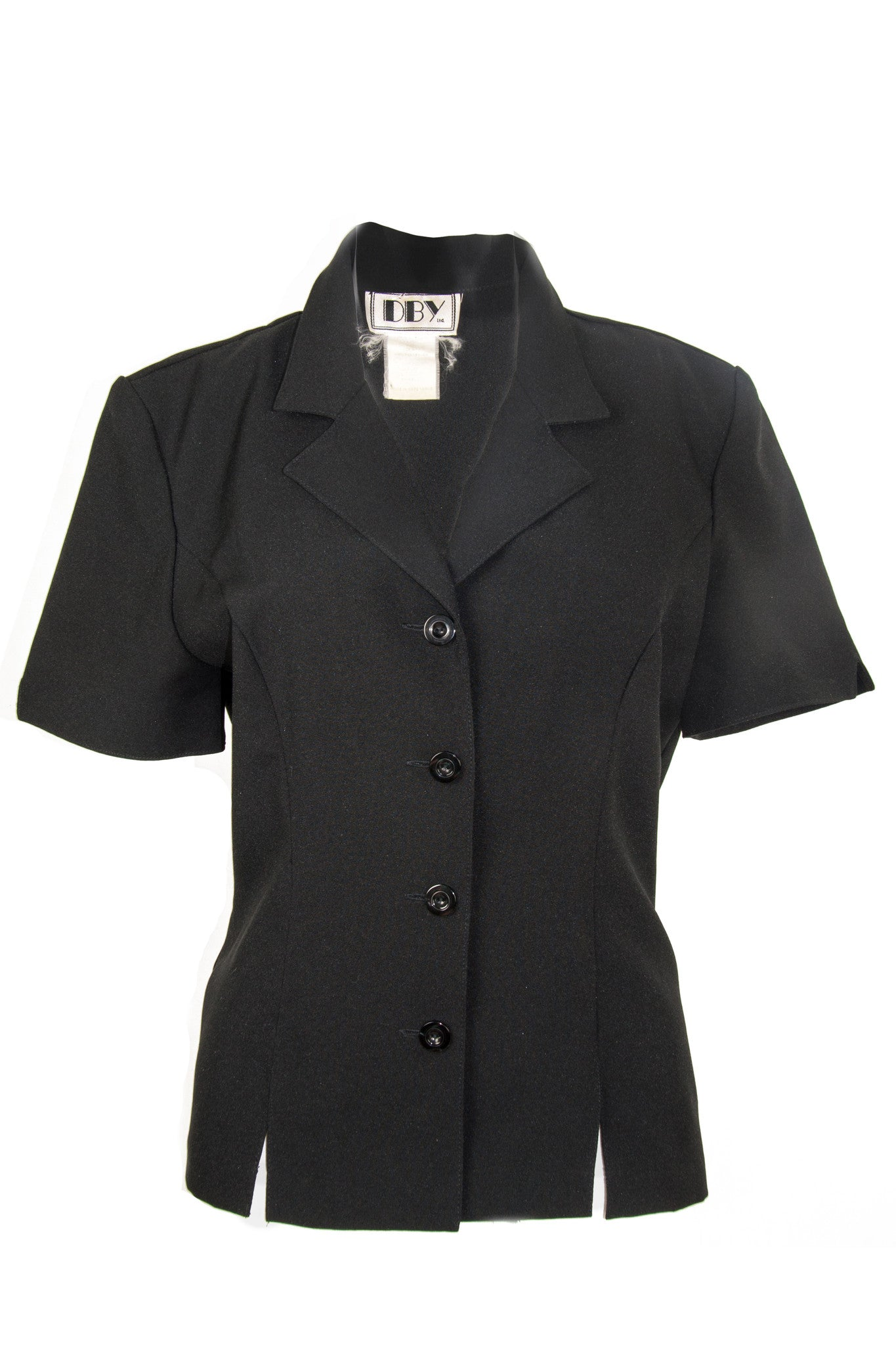 Vintage black shirt featuring peaked lapel collar, front button closure, short sleeves, and cutouts at front and back hem.