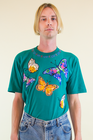 vintage butterfly t-shirt with puffy paint in teal