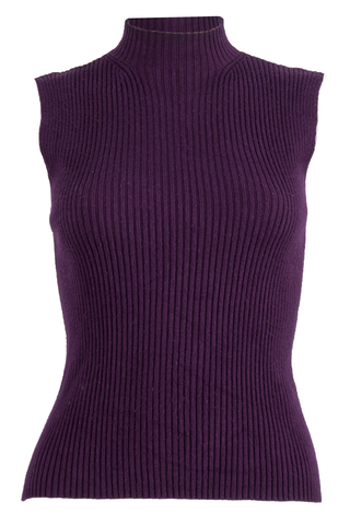 Purple ribbed tank top featuring mock neck