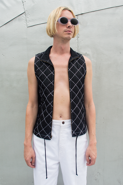 vintage quilted vest in black