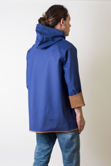 blue vintage rain jacket with reversible duck print