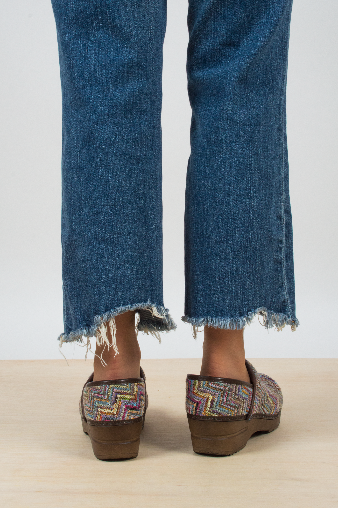vintage rainbow knit chevron clogs