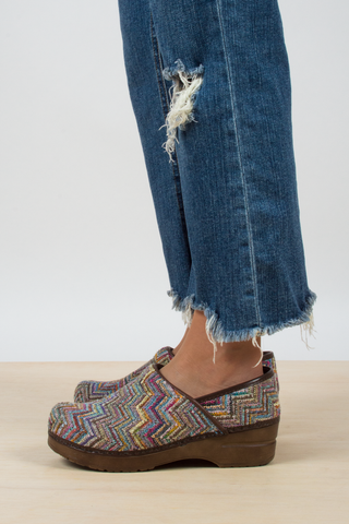 vintage rainbow knit clogs