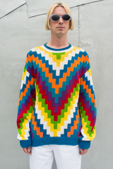 vintage geometric rainbow sweater