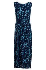 vintage maxi dress in dark blue and cyan flower print with waist tie