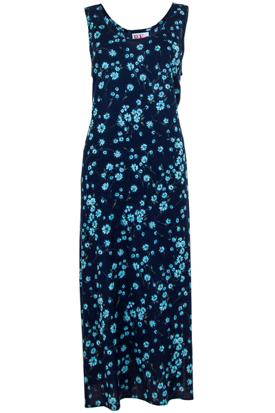 dark blue maxi dress with flower print in cyan