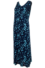 maxi dress in dark blue with cyan flower print