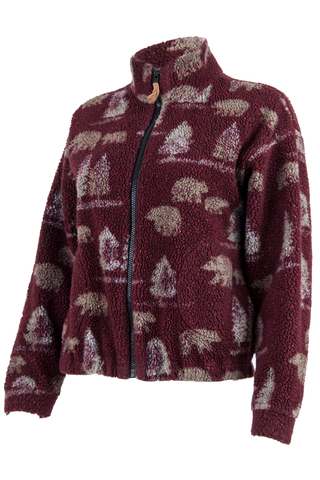 red fleece jacket with bear and tree print