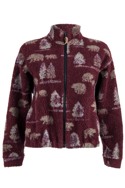 vintage fleece jacket with tree and bear print