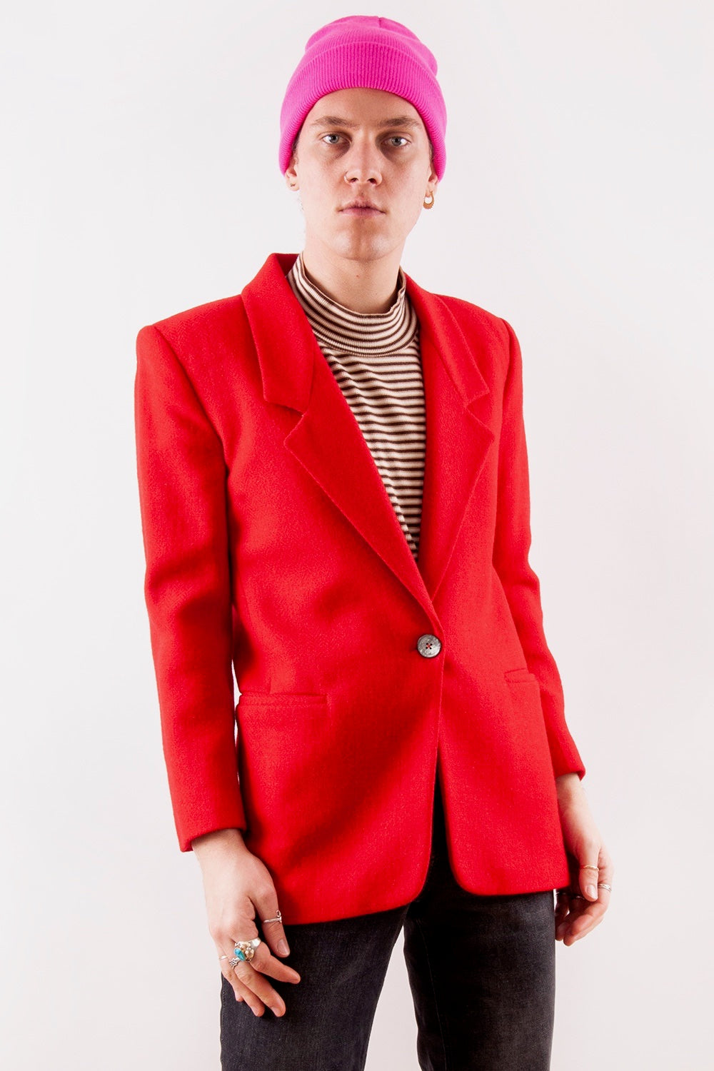 Vintage Red Wool Blazer