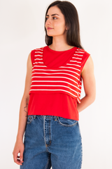 vintage red layered tank top with stripes