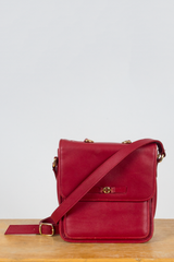 vintage red leather crossbody bag