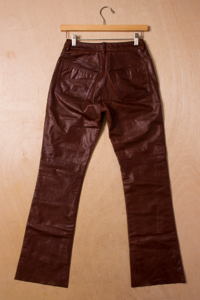 burnt red leather pants
