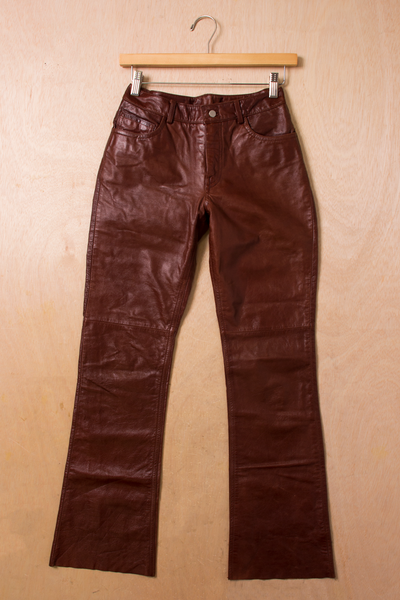 leather pants in deep red