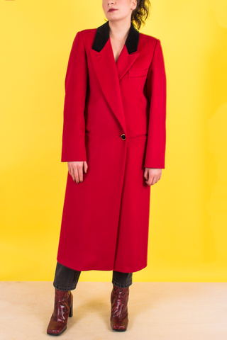 vintage red wool smoking coat