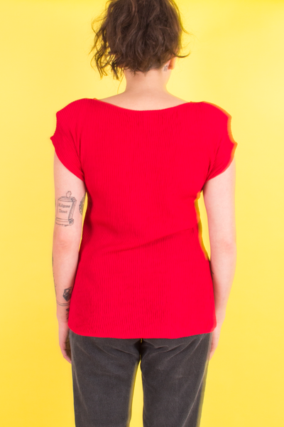 red pleated vintage top