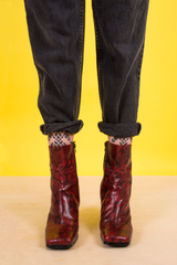 vintage red snakeskin leather boots