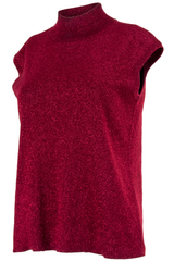 red sparkle mock neck tank top