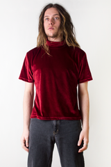 vintage red velvet mock neck t-shirt