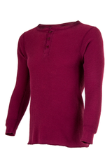 red waffle knit henley thermal