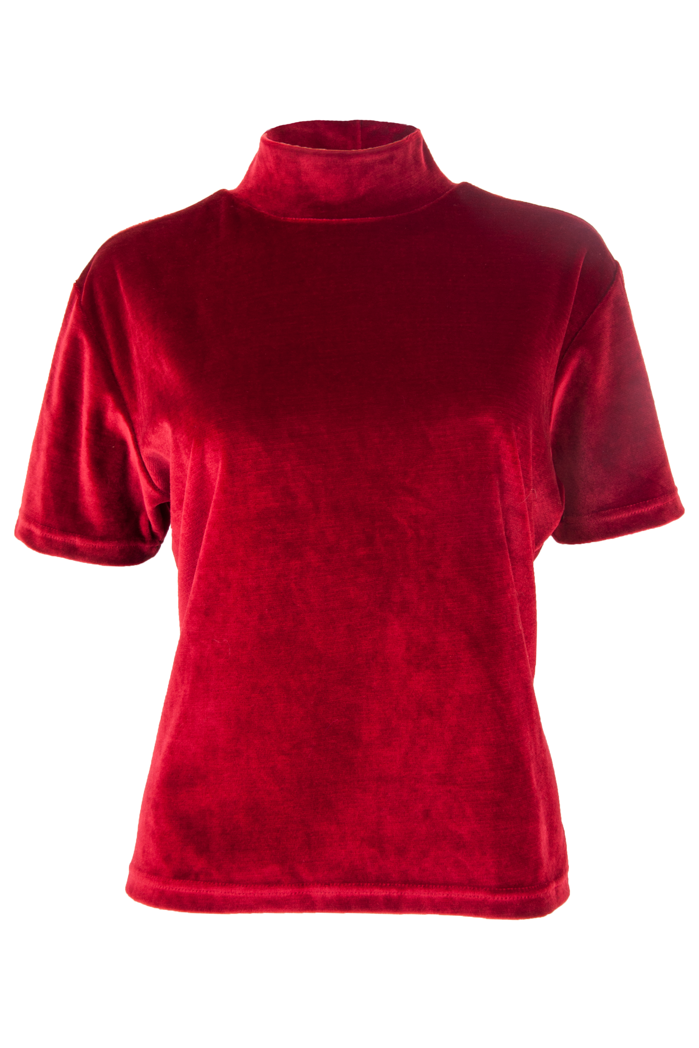 red velvet mock neck shirt