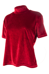 vintage velvet t-shirt with mock neck in red