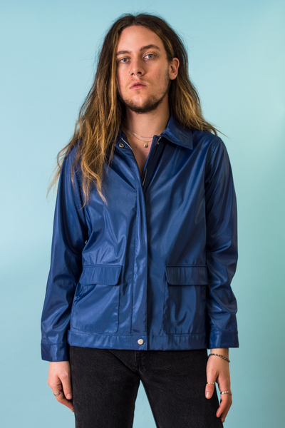 vintage blue reflective jacket