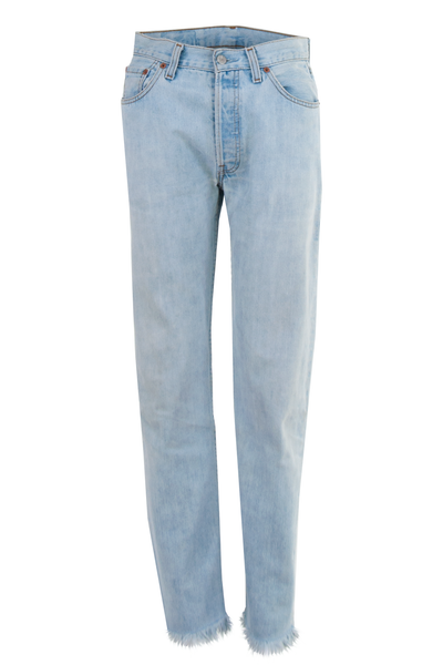 vintage blue levi's with raw hem and high-rise
