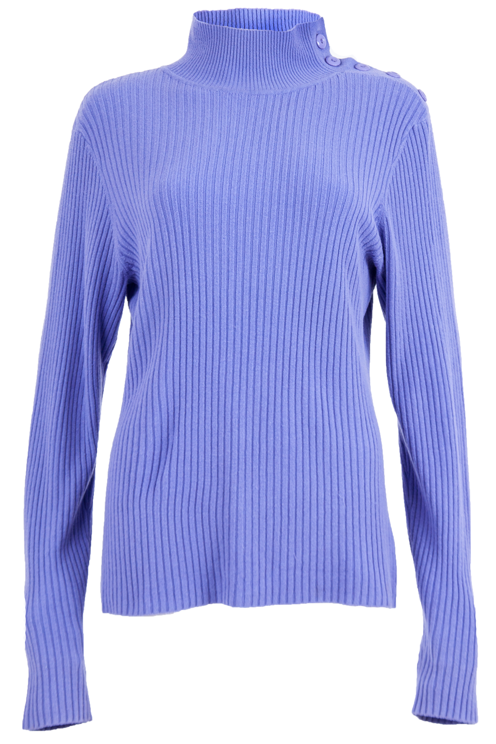 Purple mock neck sweater with ribbing