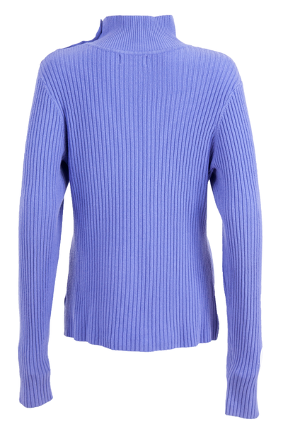 Purple sweater with mock neck and ribbing