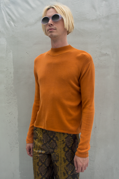 vintage orange ribbed mock neck sweater