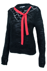 black vintage sweater with red ribbon tie