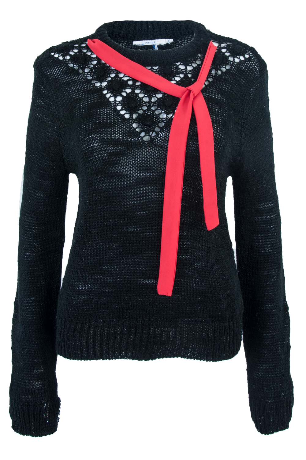 Black sweater with red ribbon tie at neckline