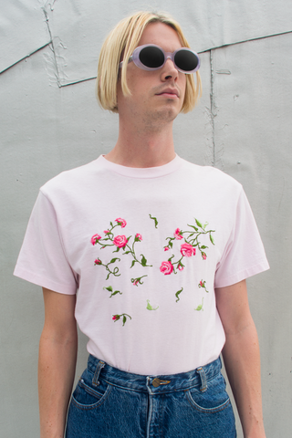 vintage rose embroidered t-shirt in pink