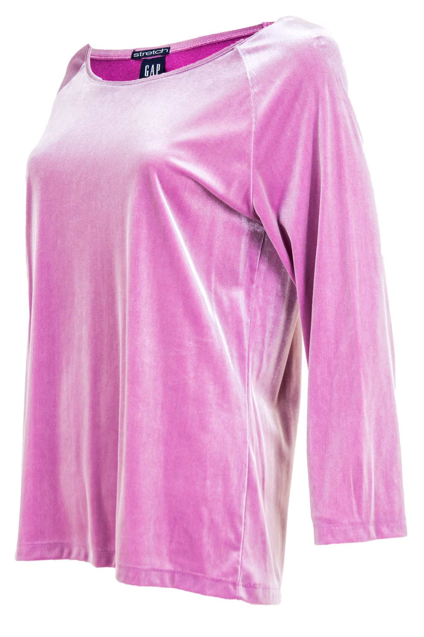 rose quartz velvet top with long sleeves and scoopneck