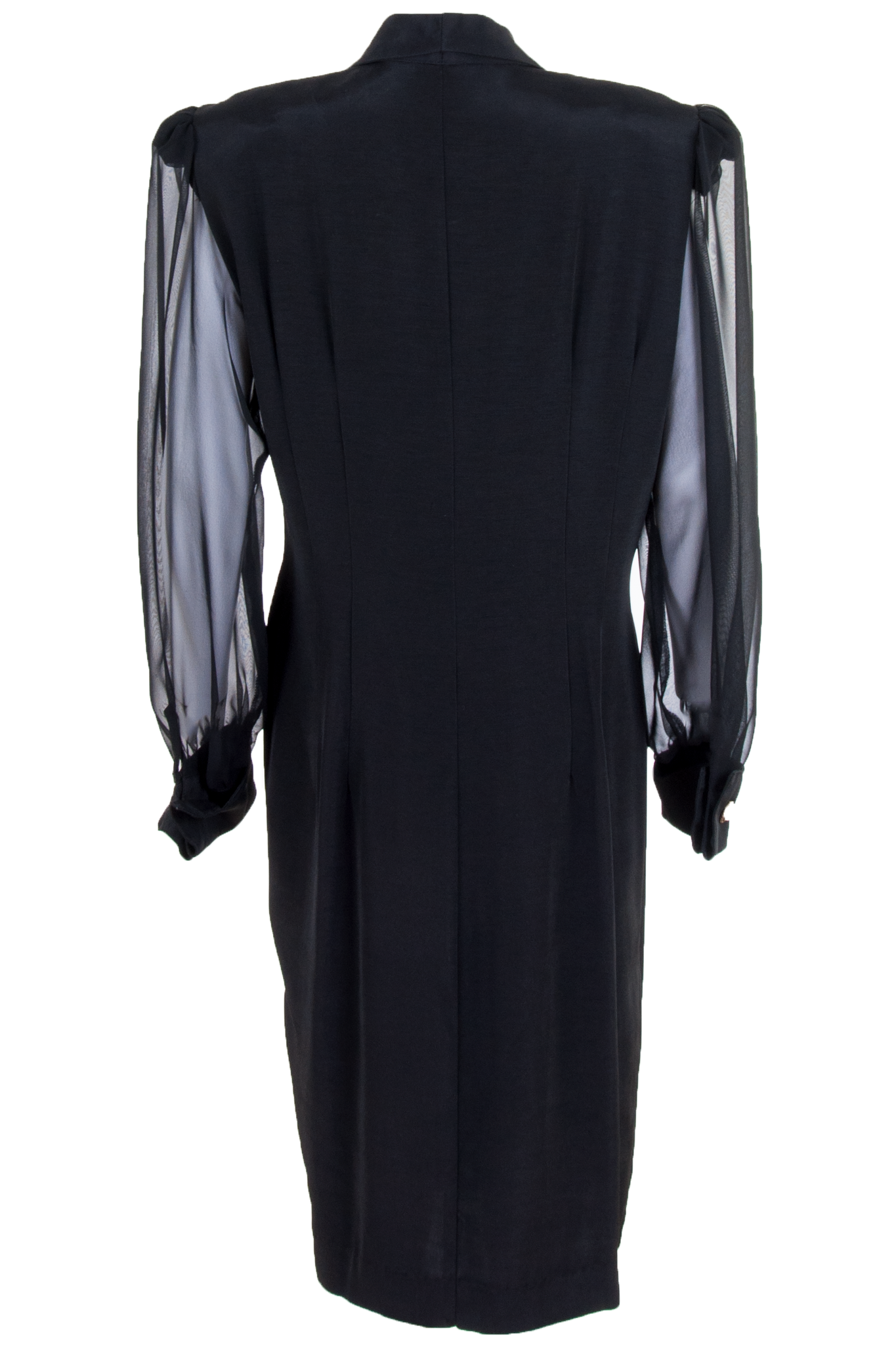 vintage black dress with sheer sleeves