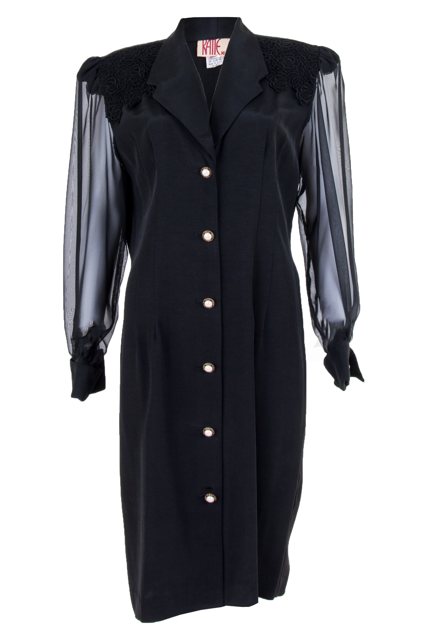 Vintage black dress with pearl buttons