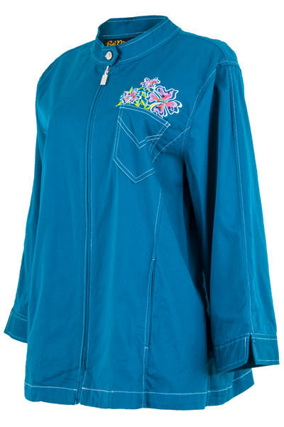 blue jacket with flower embroidery at chest and zipper closure
