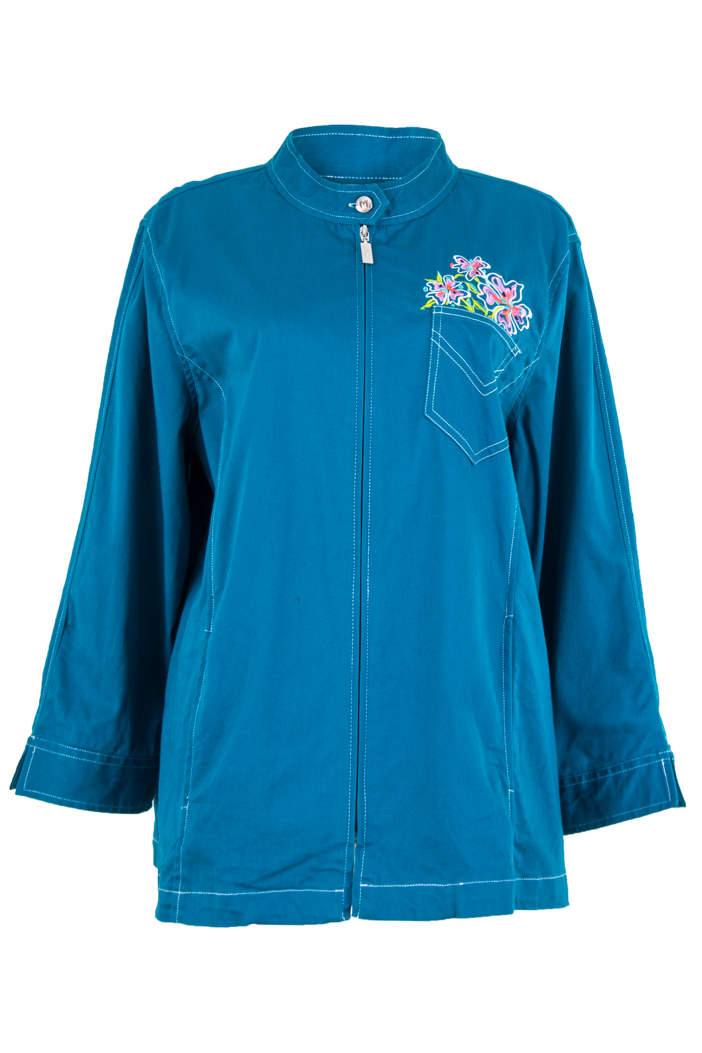 Blue jacket with floral embroidery and zip closure