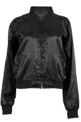 Black satin bomber jacket featuring rib knit trim and front zip closure